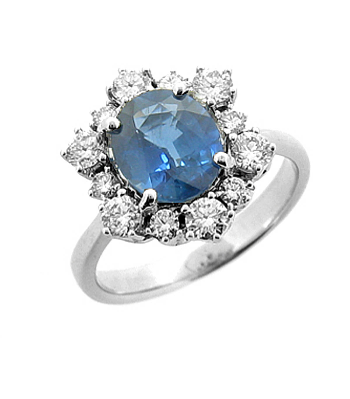 Sapphire and diamond cluster ringPictured item: sapphire: total 2.17ct/diamonds: total 0.70ct set in 18k white gold