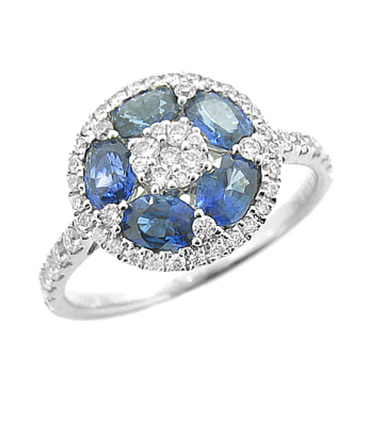 Sapphire and diamond cluster ringPictured item: sapphire: total 1.03ct/diamonds: total 0.43ct set in 18k white goid