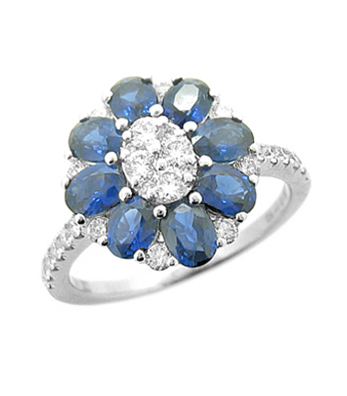 Sapphire and diamond cluster ringPictured item: sapphire: total 1.61ct/diamonds: total 0.49ct set in 18k white gold