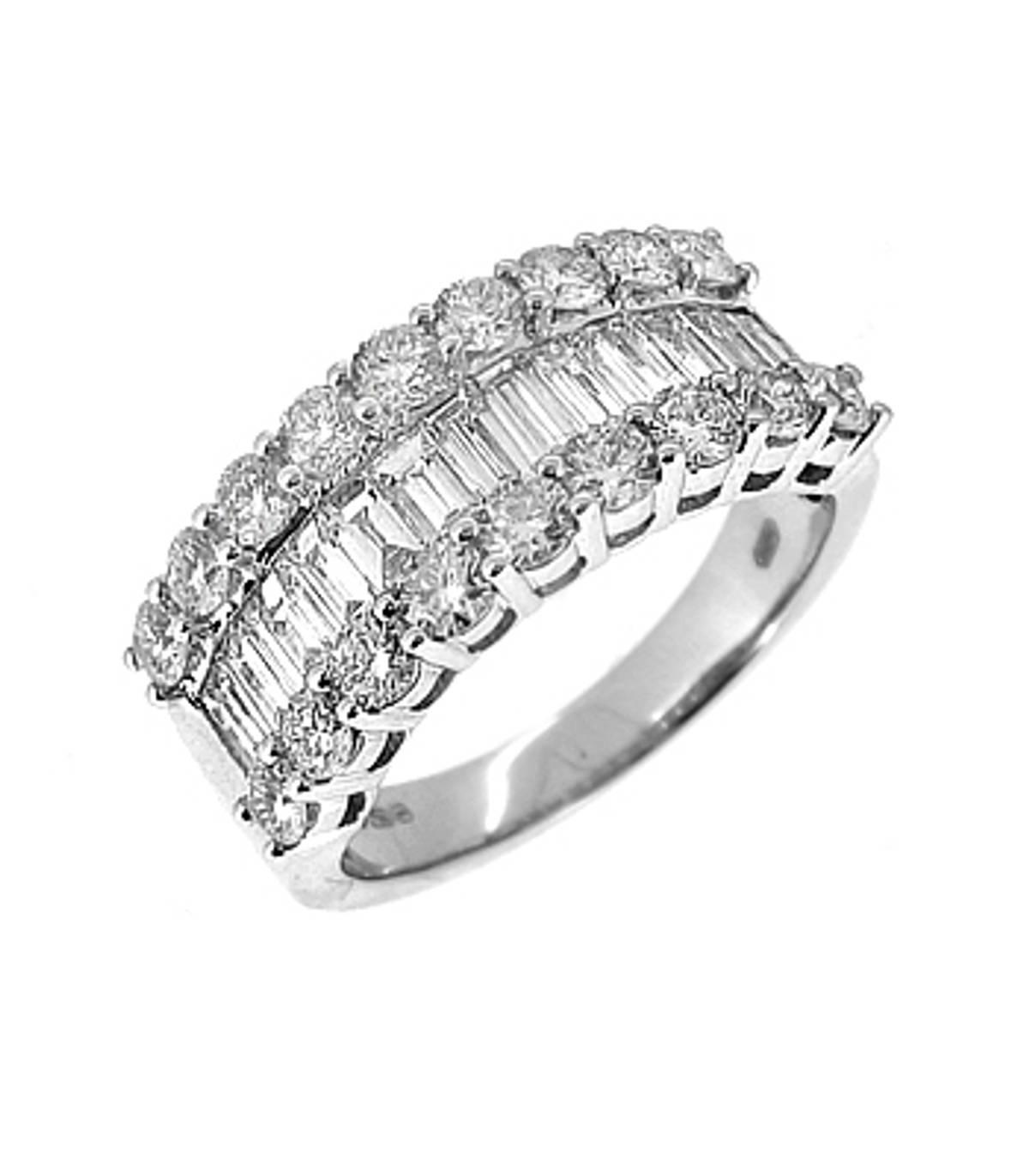 3 ROW DIAMOND DRESS RING 18k white gold baguette & brilliant cut diamond 3 row dress ringDETAILSCarat: diamond total weight 1.91ctsCut: Brilliant cut and BaguetteMetal: 18k white gold