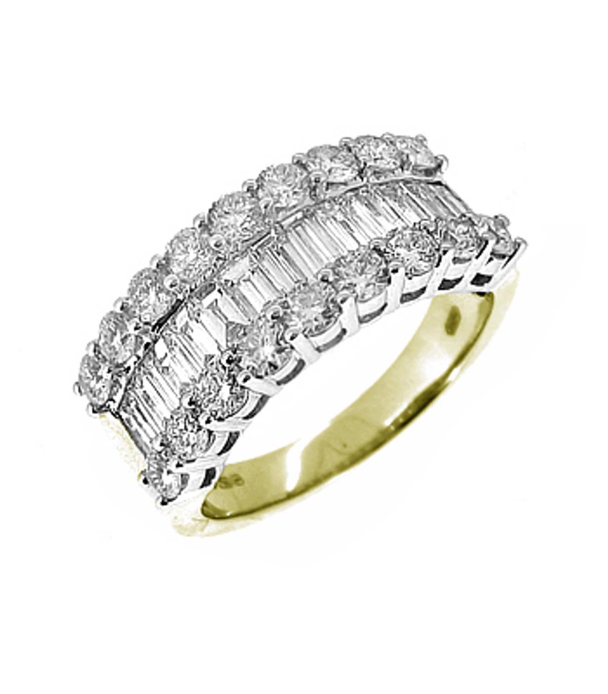 3 ROW DIAMOND DRESS RING 18k yellow and white gold baguette & brilliant cut diamond 3 row dress ringDETAILSCarat: diamond total weight 2.13ctsCut: Brilliant cut and BaguetteMetal: 18k yellow and white gold