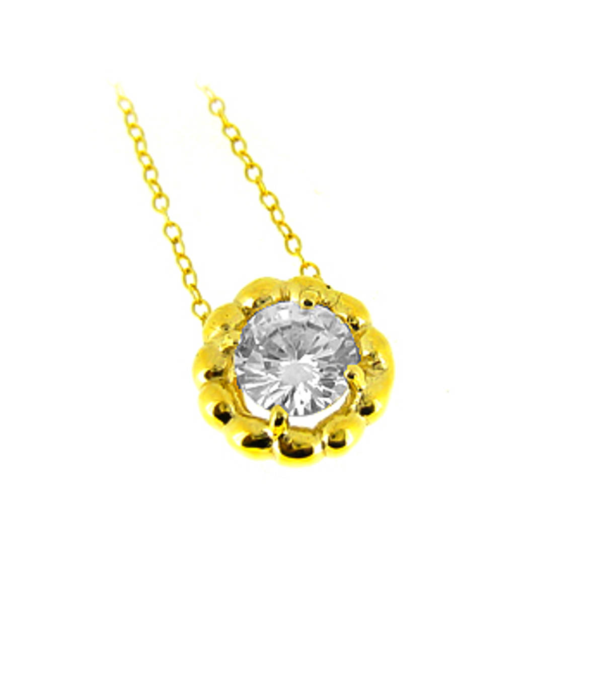"9k yellow gold CZ round pendant on 9k yellow gold 18"" chain Metal: 9k yellow gold 9k yellow gold 18"" chain Length  1.2cm  Width  1.2cm Made in Ireland"
