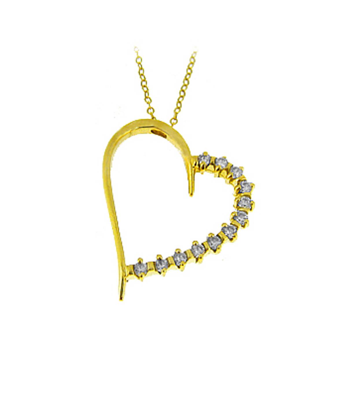 "9k yellow gold open heart CZ pendant on 9k yellow gold 18"" chain 9k yellow gold 18"" chainMetal: 9k yellow gold Length  2.9cm  Width  2.1cm Made in Ireland"