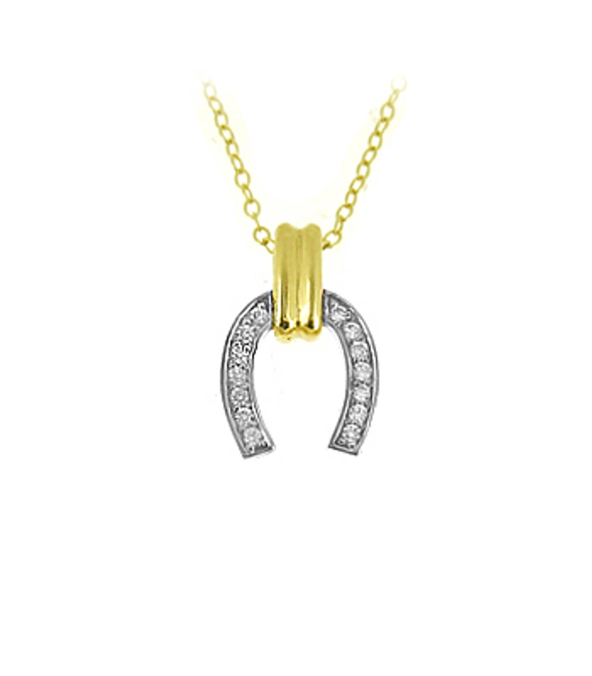 "9k yellow gold CZ horseshoe pendant on 9k yellow gold 18"" chain Metal: 9k yellow gold  9k yellow gold 18"" chain Length  1.5cm Width  1cm      Made in Ireland"