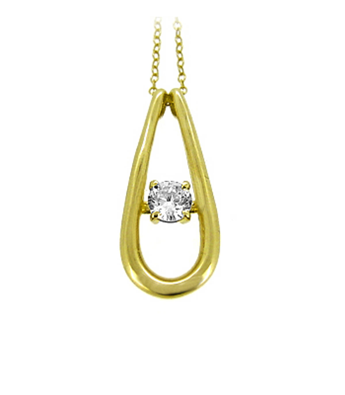 """9k yellow gold CZ pearshape pendant on 9k yellow gold 18"""" chain Metal: 9k yellow gold 9k yellow gold 18"""" chain Length  2.6cm  Width  1.1cm Made in Ireland"""