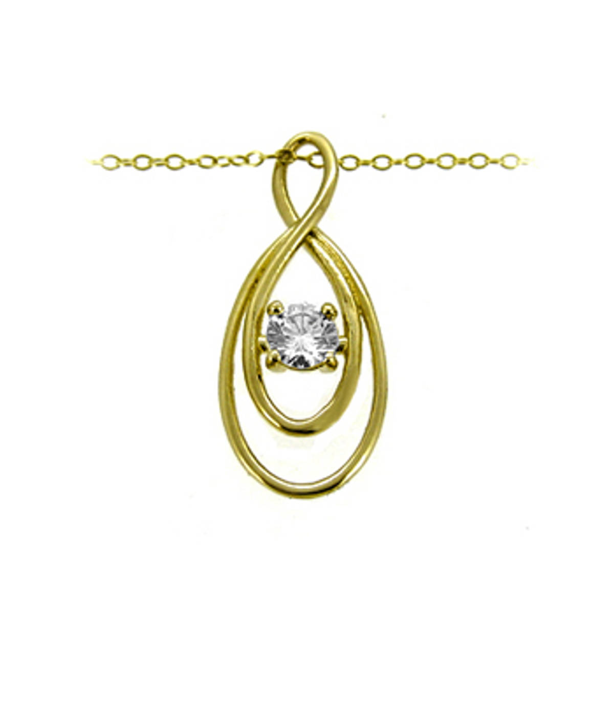 """9k yellow gold CZ pendant on 9k yellow gold 18"""" chain Metal: 9k yellow gold 9k yellow gold 18"""" chain Length  2.7cm  Width  1.1cm Made in Ireland"""