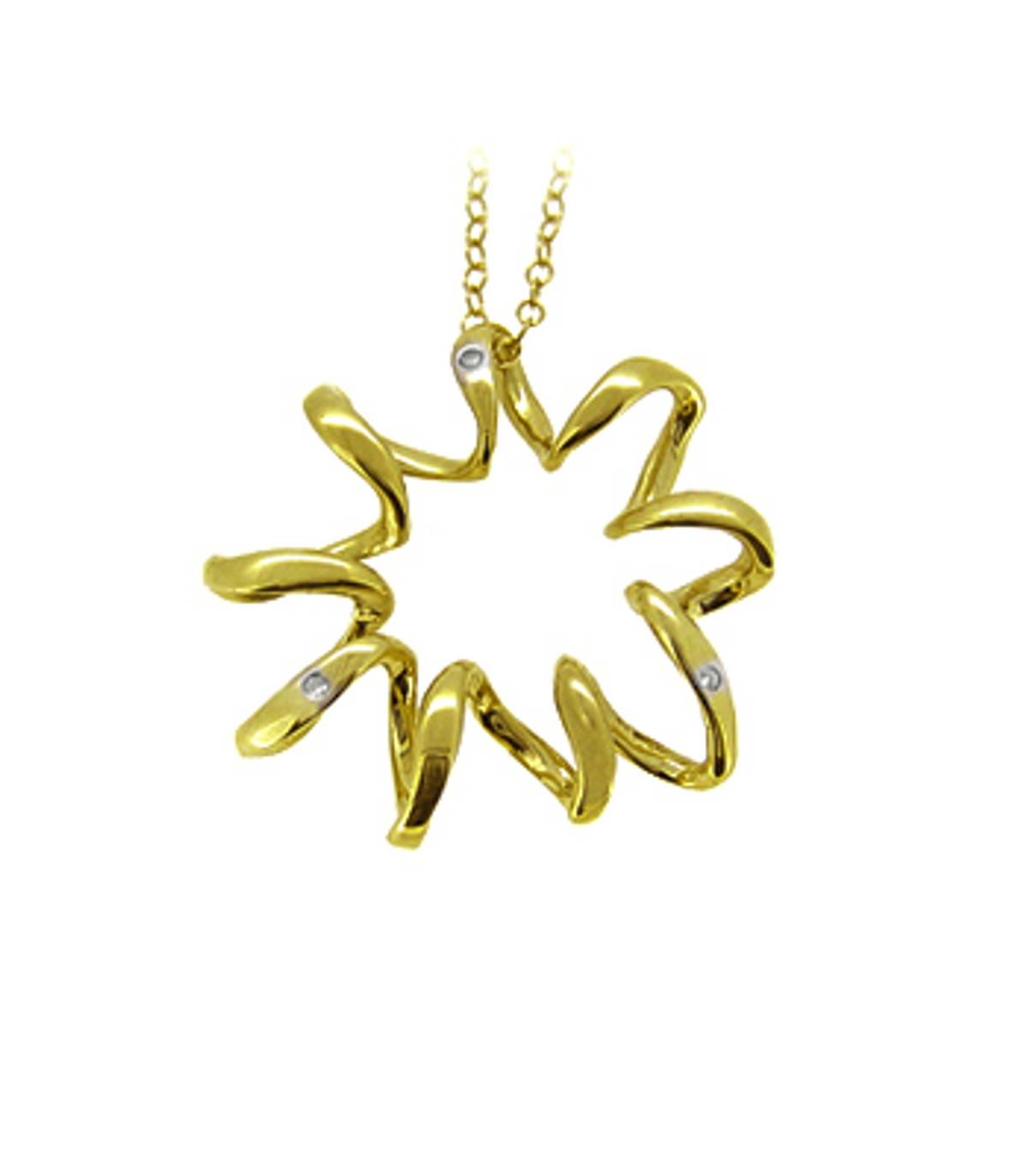 "9k yellow gold 3st CZ zig-zag circular pendant on 9k yellow gold 18"" chain Metal: 9k yellow gold9k yellow gold 18"" chain Length  2.5cm  Width  2.5cm Made in Ireland"