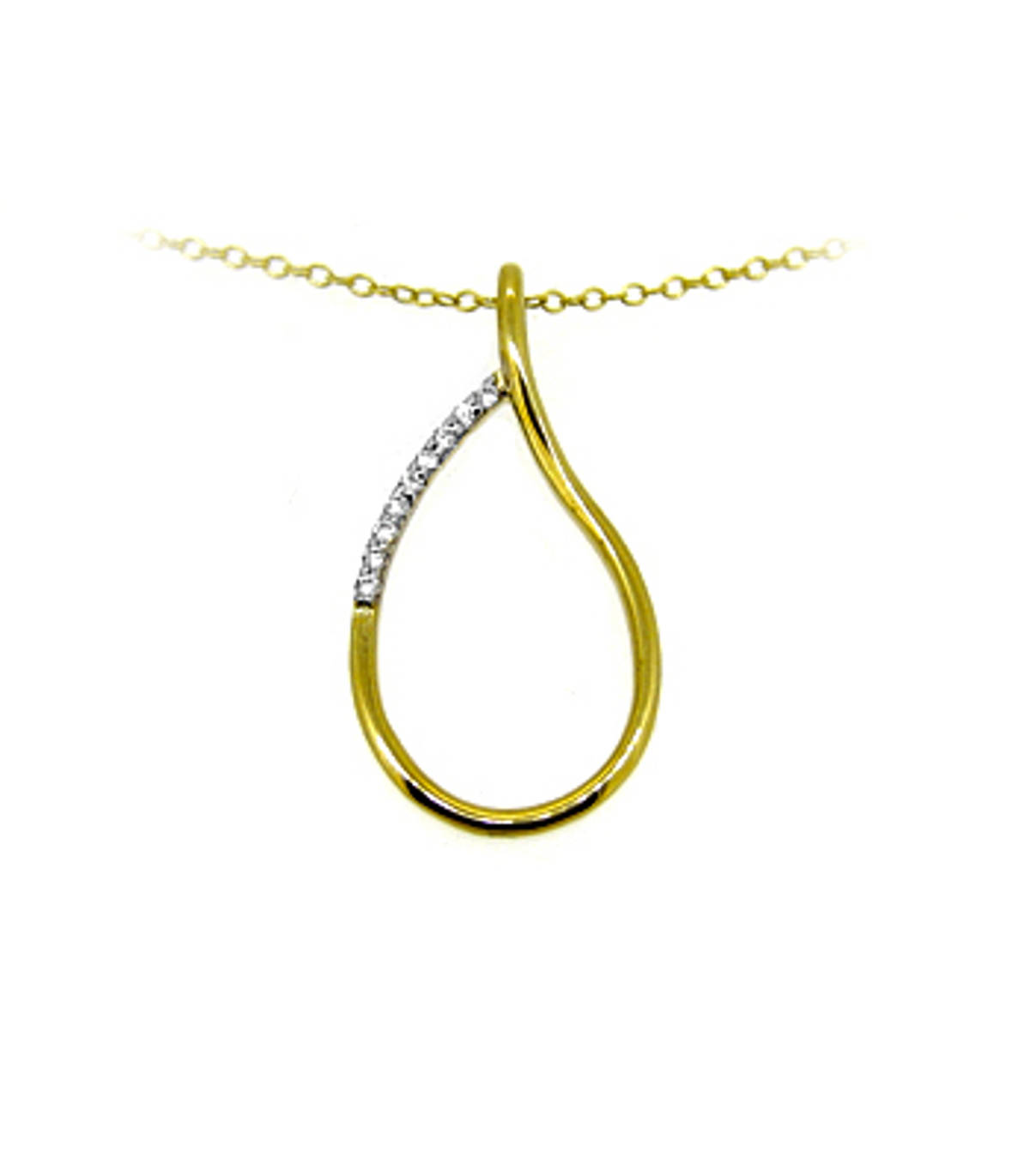 """9k yellow gold CZ loop pendant on 9k yellow gold 18"""" chainDETAILSMetal: 9k yellow gold9k yellow gold 18"""" chain SIZE & FITLength  3cmWidth  1.4cm Made in the Ireland"""