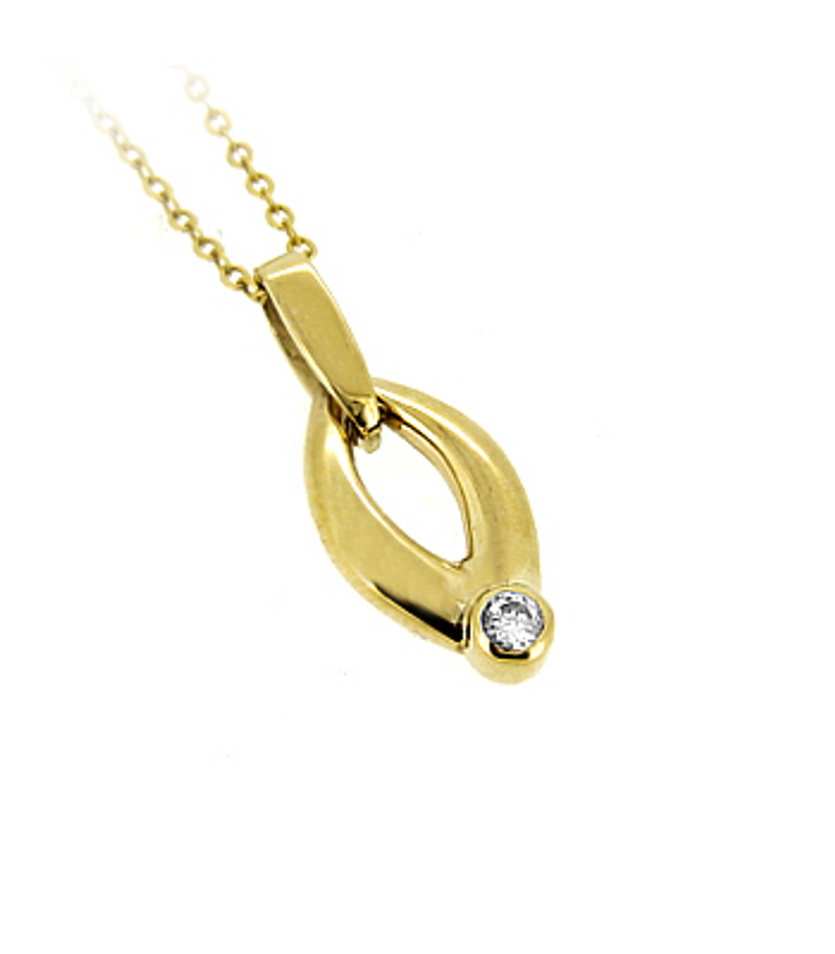 """9k yellow gold CZ oval drop pendant on 9k yellow gold 18"""" chain Metal: 9k yellow gold  9k yellow gold 18"""" chain Length  2.4cm  Width  0.9cm Made in Ireland"""