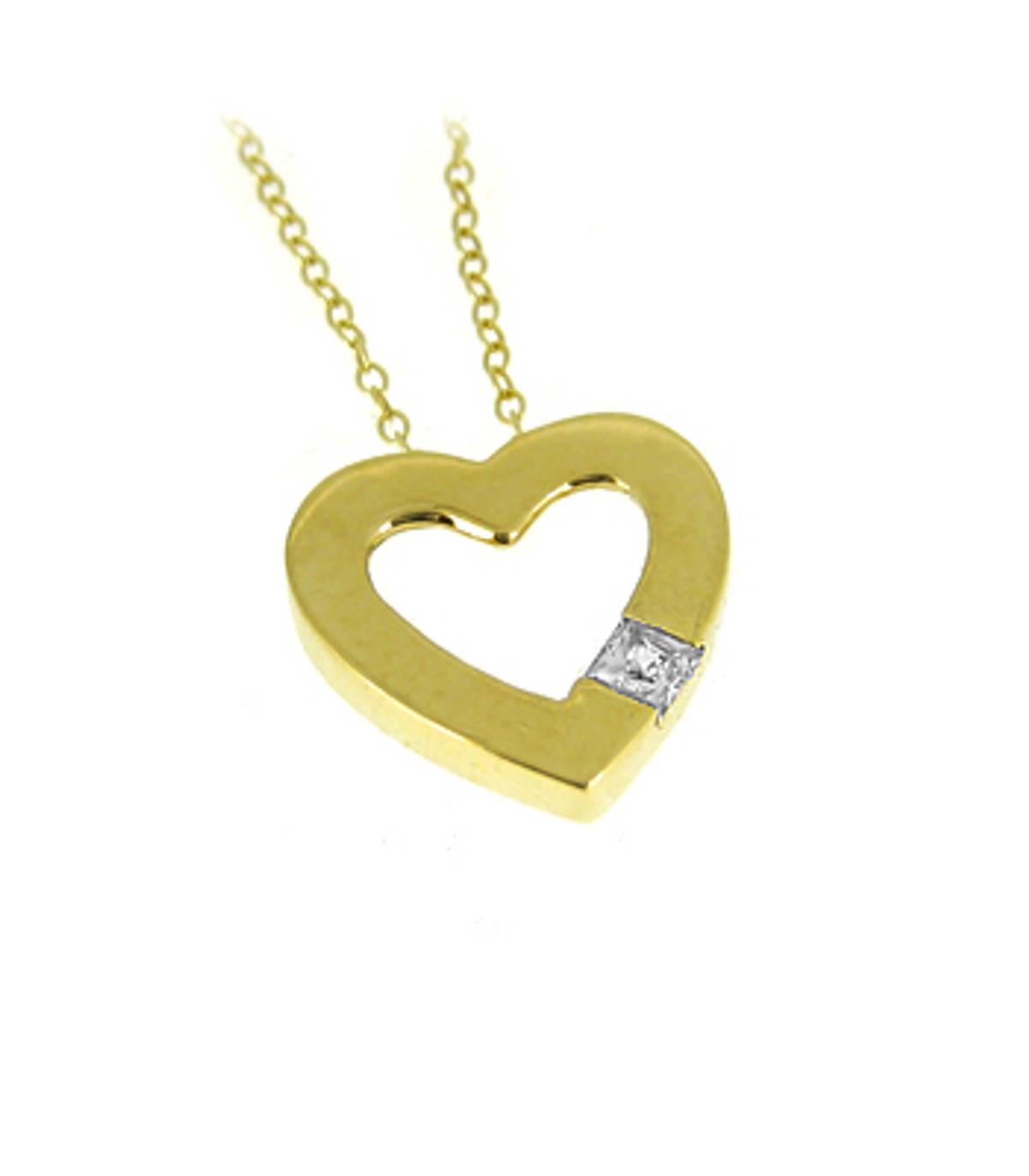 "9k yellow gold open heart CZ pendant on 9k yellow gold 18"" chain 9k yellow gold 18"" chain Metal: 9k yellow gold Length  1.5cm  Width  1.5cm Made in Ireland"