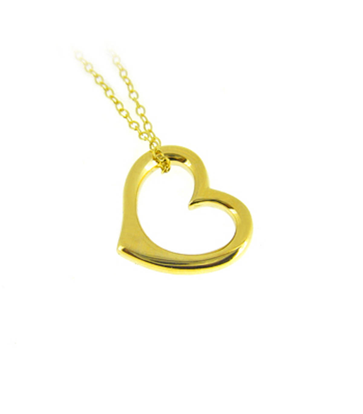 "9k yellow gold open heart pendant on 9k yellow gold 18"" chain 9k yellow gold 18"" chain Metal: 9k yellow gold Length  1.5cm   Width 1.5cm      Made in Ireland"