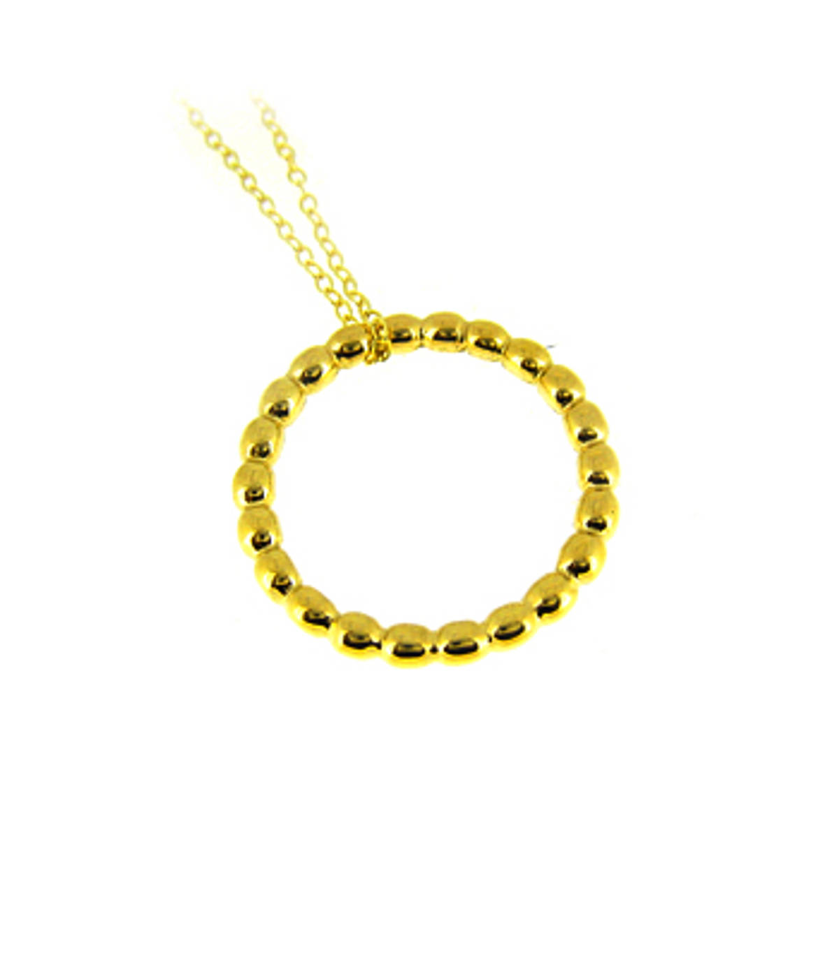 """9k yellow gold rope pattern circle pendant on 9k yellow gold 18"""" chain Metal: 9k yellow gold  9k yellow gold 18"""" chain Length  2cm Width 2cm      Made in Ireland"""