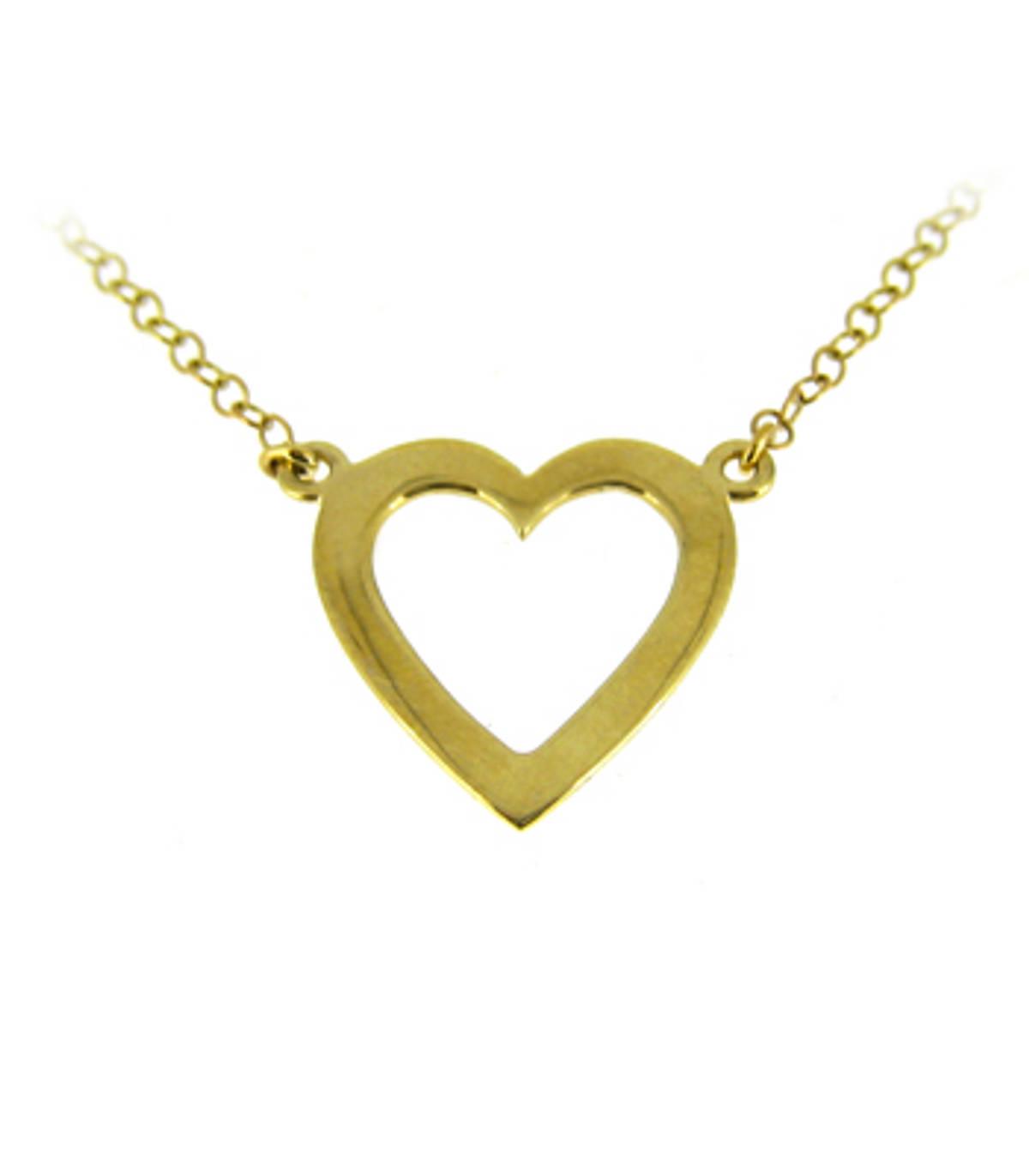 "9k yellow gold open heart necklace Metal: 9k yellow gold9k yellow gold 18"" chain  Pendant Length  1.8cm  Pendant Width  2cm Made in Ireland"