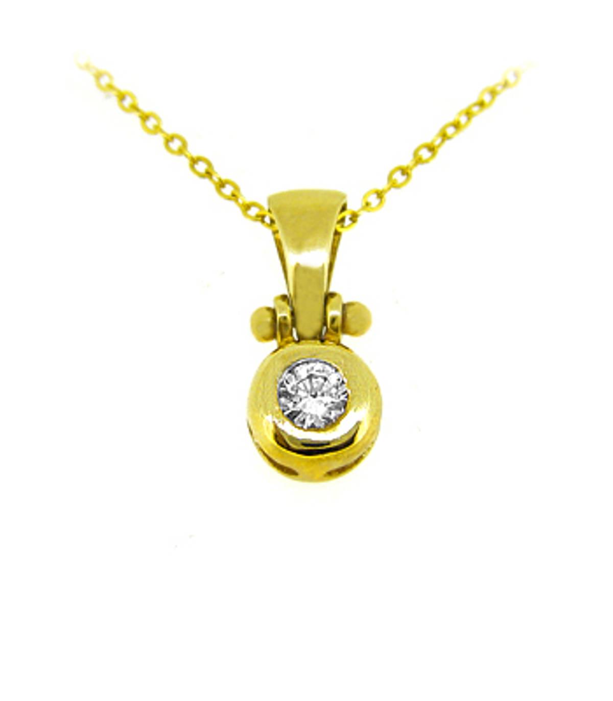 "9k yellow gold CZ rubover set pendant on 9k yellow gold 18"" chain Metal: 9k yellow gold  9k yellow gold 18"" chain Length  1.9cm  Width  0.8cm Made in Ireland"