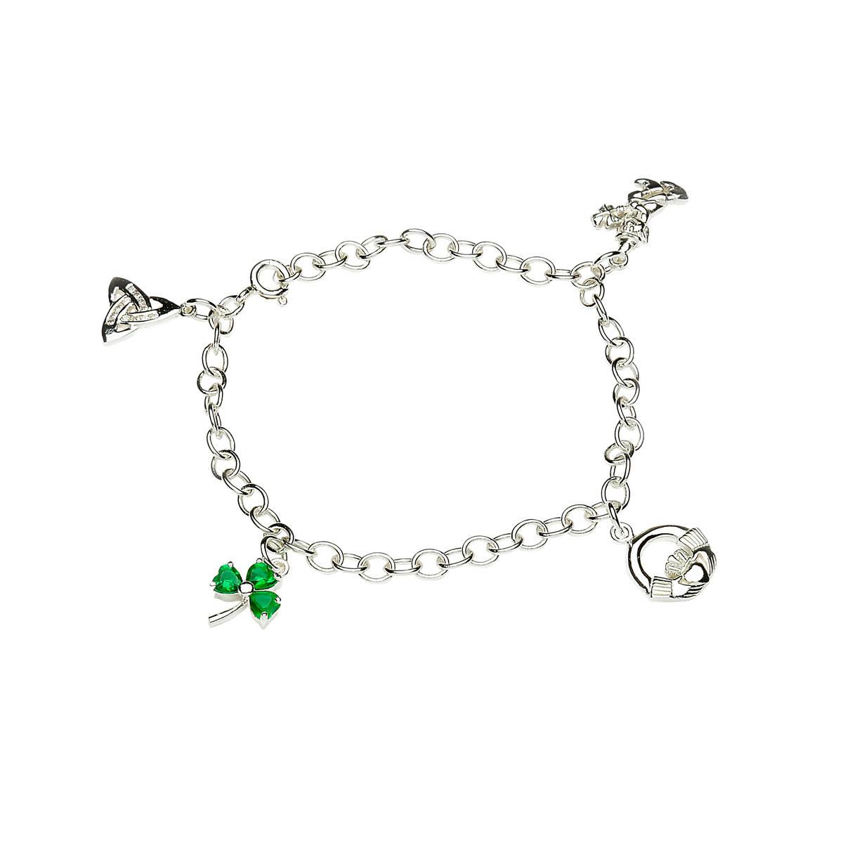 Silver Charm Bracelet Trinity,claddagh,shamrock,leprechaun