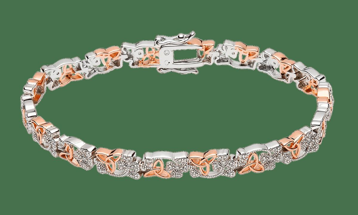 S/silver Cz Shamrock Rose Gold Plated Trinity Knots Hugy Bracelet