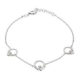 Silver Three Claddagh Link Bracelet