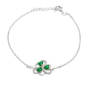 Silver Shamrock Link Bracelet with Green Agate