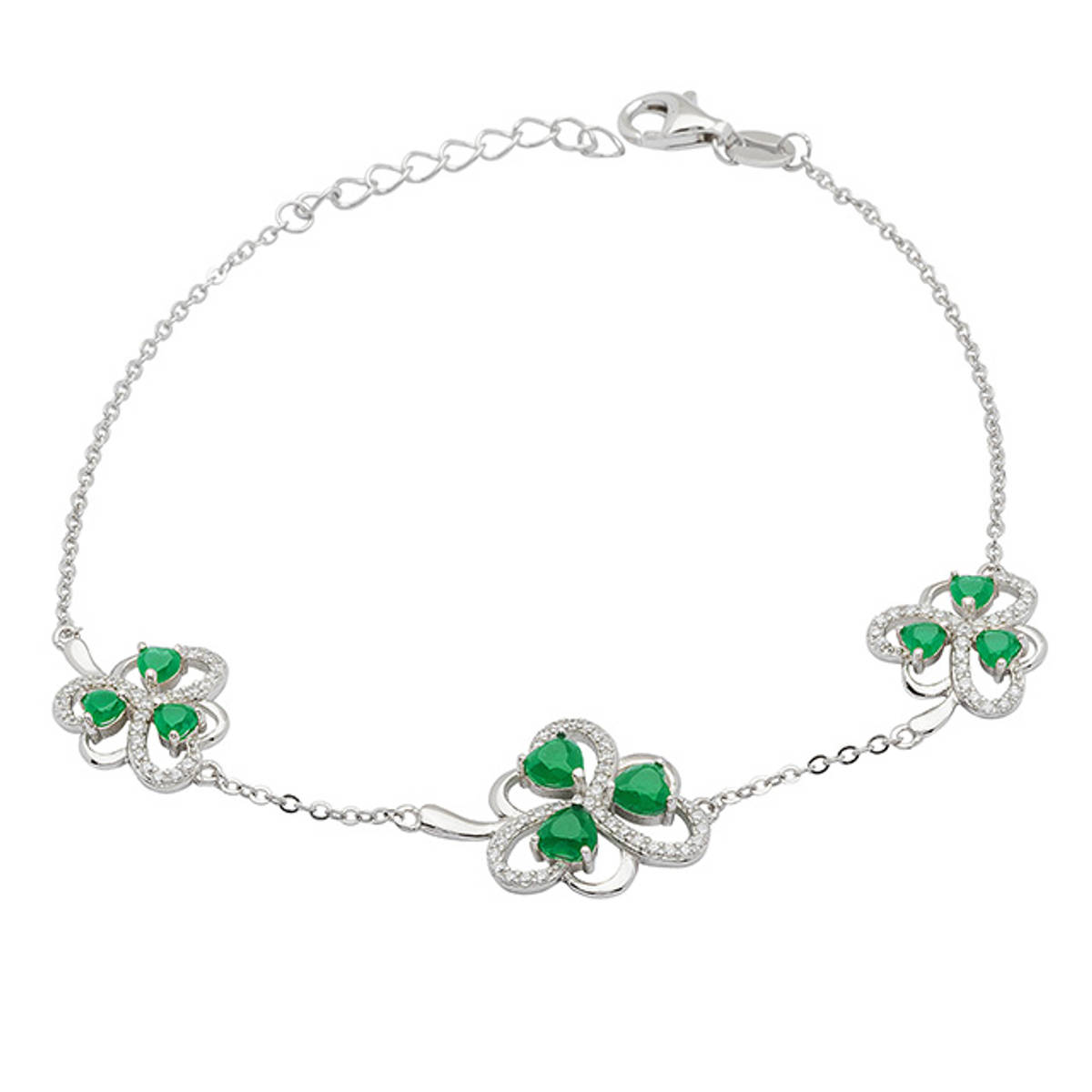 Sterling Silver Shamrock Bracelet with Green Agate and Cubic Zirconia  Size: 19mm