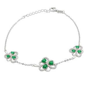 Silver Green Agate Shamrock Bracelet with Cz