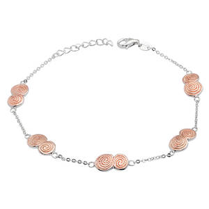 Silver Five Newgrange Spiral Link And Chain Bracelet