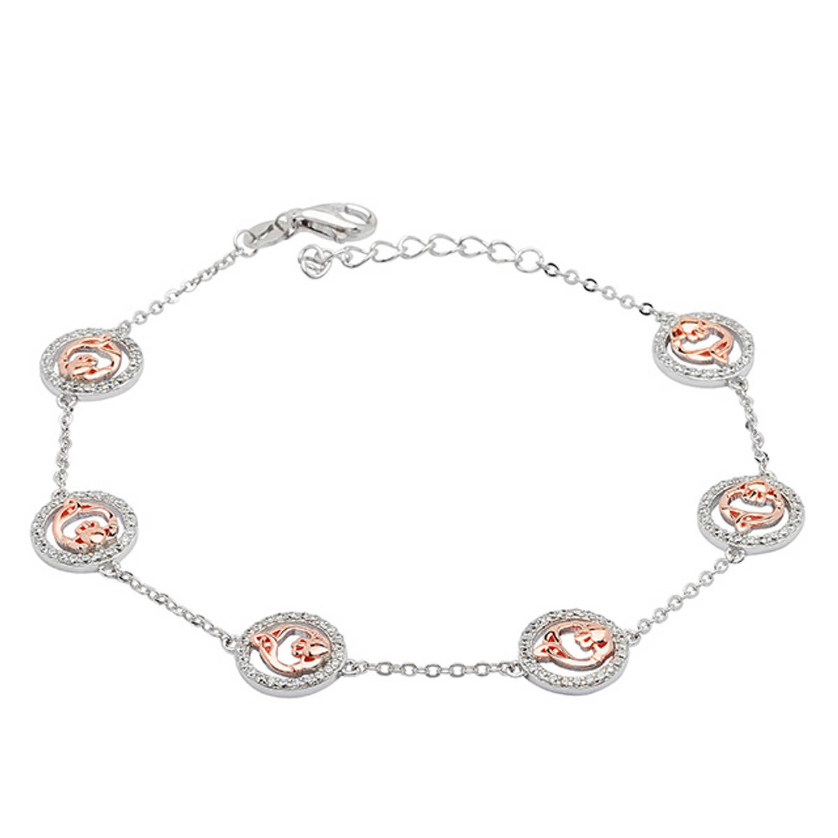 Sterling Silver Link and Chain Bracelet with Six Rose Gold Claddagh Links in Cubic Zirconia Surround.