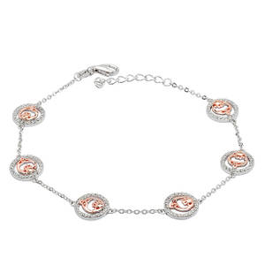 Silver and Rose Gold Claddagh Link and Chain Bracelet