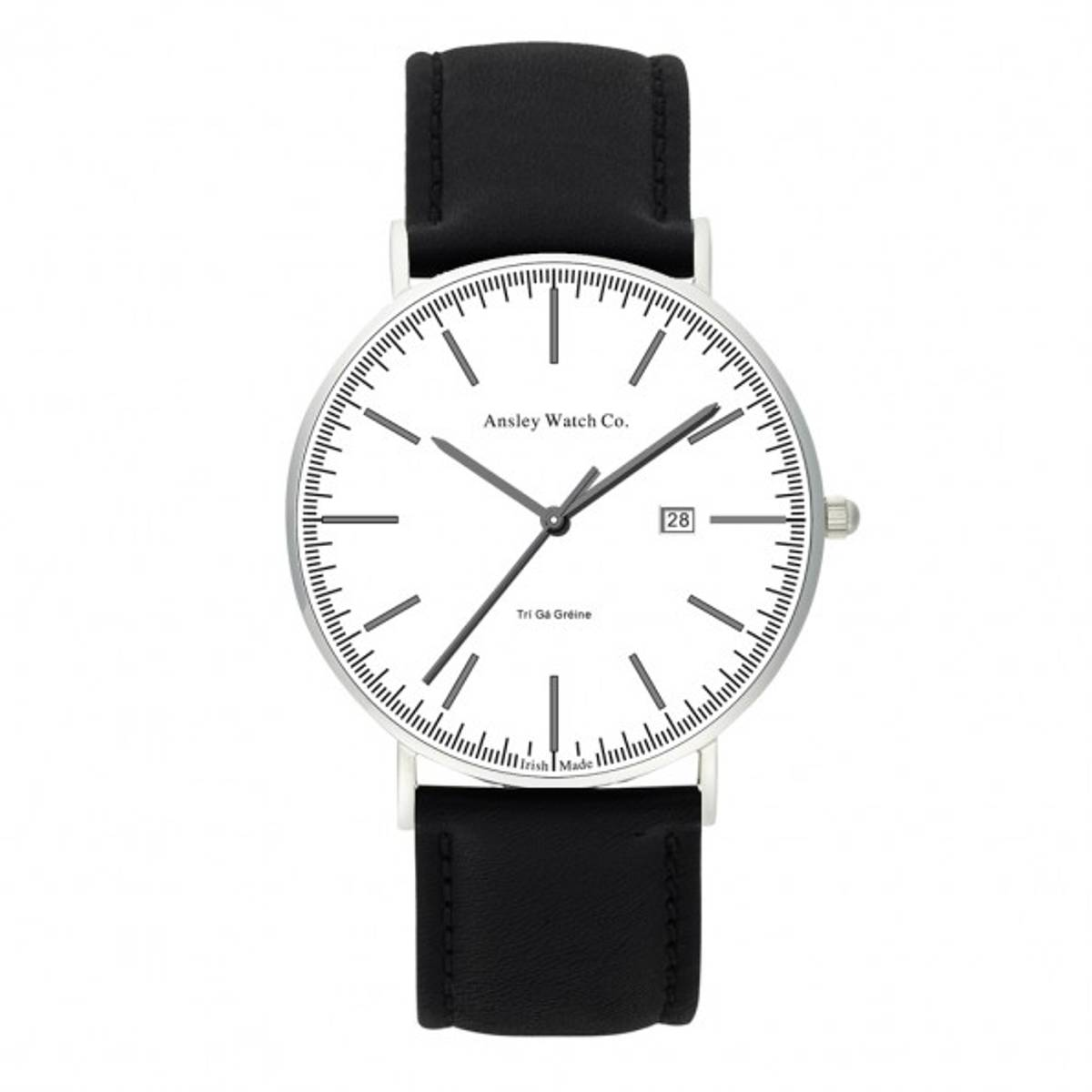 Ansley 234Ansley 23442mm sapphire glass3 ATMCitizen GM10 movementDate functionInterchangeable leather strapAncient Symbol for equality engraved on case backMade in Ireland