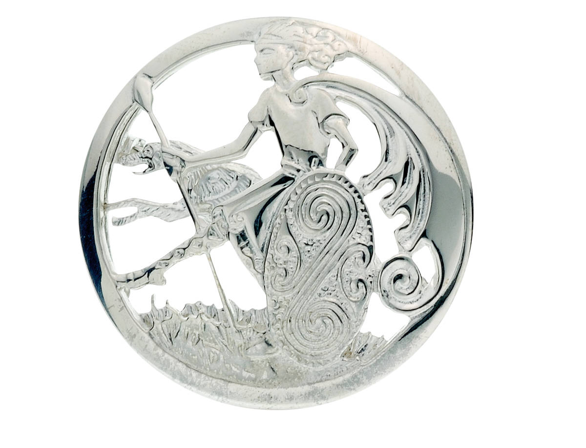 Silver Cuchulainn warrior and Irish wolfhound brooch from ancient folklore