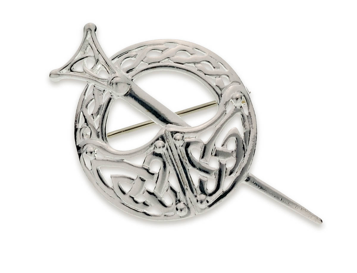 Silver Tara brooch with celtic knot work.