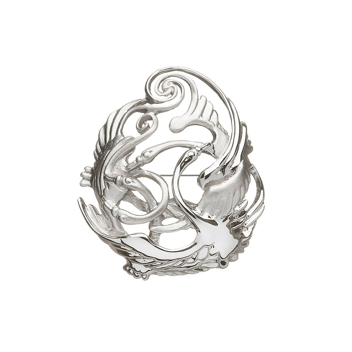 Silver Children of Lir brooch representing the swans who were the bewitched children of Lir.Please read the story of the fable about them in the Lir section.