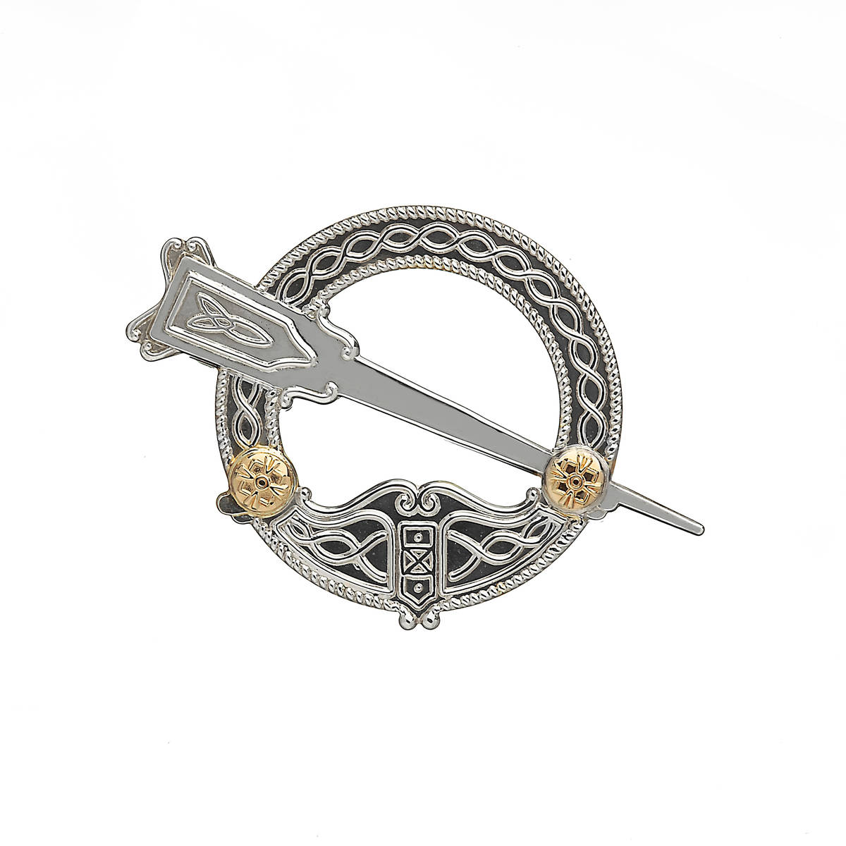 Silver Traditional Di Stamper Small Tara Brooch With 14ct Y/gold Details  Silver small Tara brooch presented in it's traditional style.a replica of an ancient Irish artifact going back several thousand years.