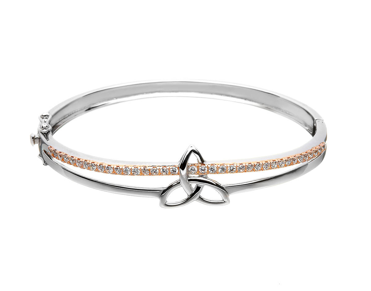 Silver Trinity Bangle With Cz Set In Rose Gold Plating