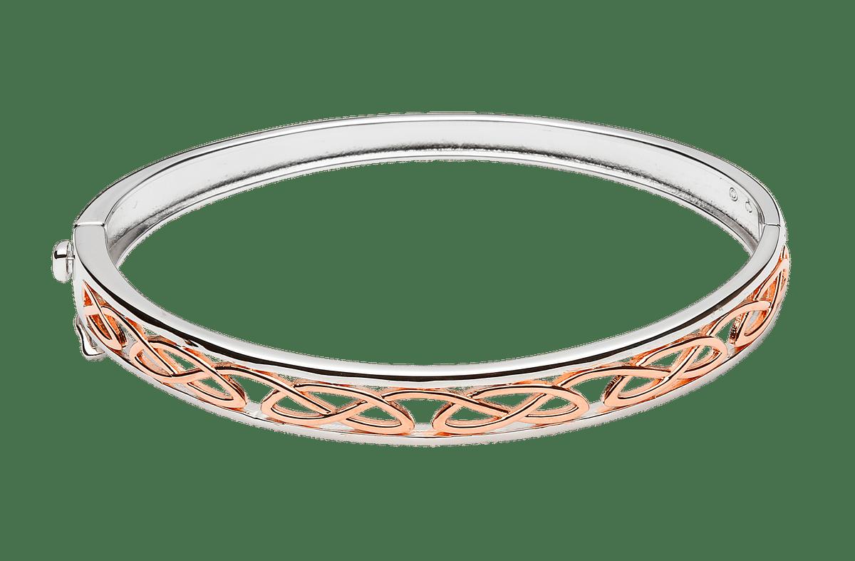 S/silver Rose Gold Plaited Celtic Love Knot Design Hinged Bangle