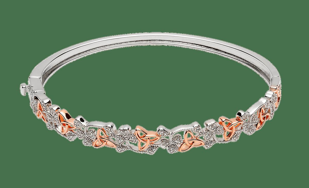 Silver Cz Shamrock Rose Gold Plated Trinity Knots Hugy Bangle