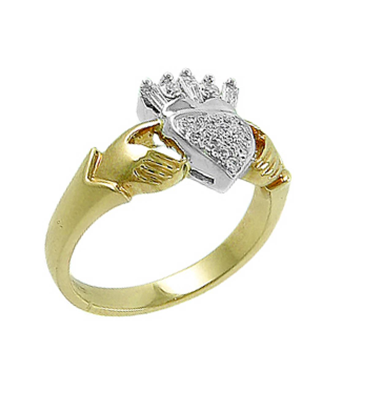 Irish made18 carat yellow gold 0.14cts/0.15cts diamonds claddagh engagement ring