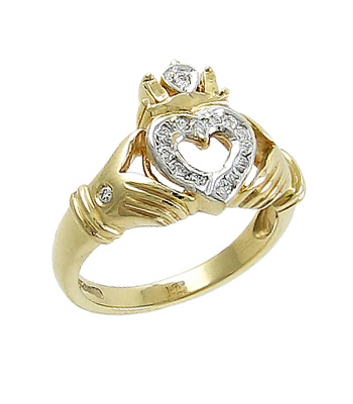 Irish made14 carat yellow gold 0.17cts diamonds claddagh engagement ring