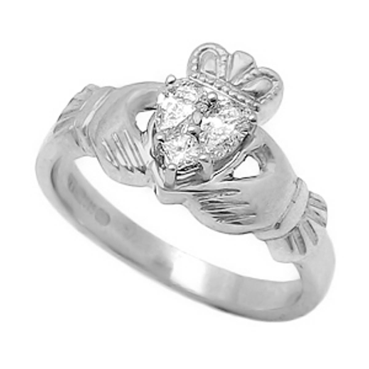 Irish made14 carat white gold 0.22cts/0.04cts diamonds claddagh engagement ring