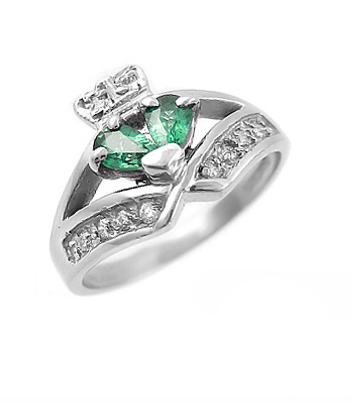 Irish made14 carat white gold 0.40cts emerald/0.12cts diamonds claddagh engagement ring