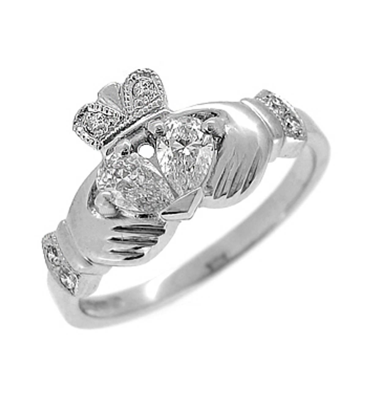 Irish made14 carat white gold 0.34cts/0.06cts diamonds claddagh engagement ring