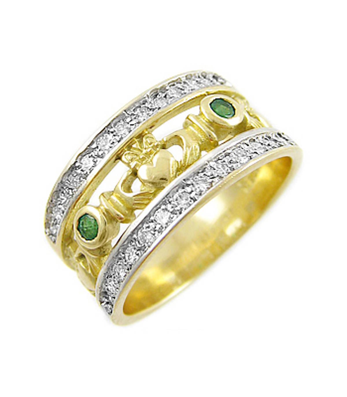 Irish made 14 carat yellow gold emerald 0.10cts/diamonds 0.26cts claddagh engagement ring