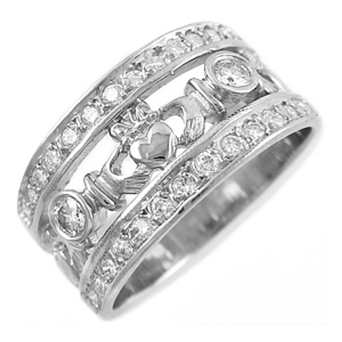 Irish made14 carat white gold 0.15cts/0.26cts diamonds claddagh engagement ring