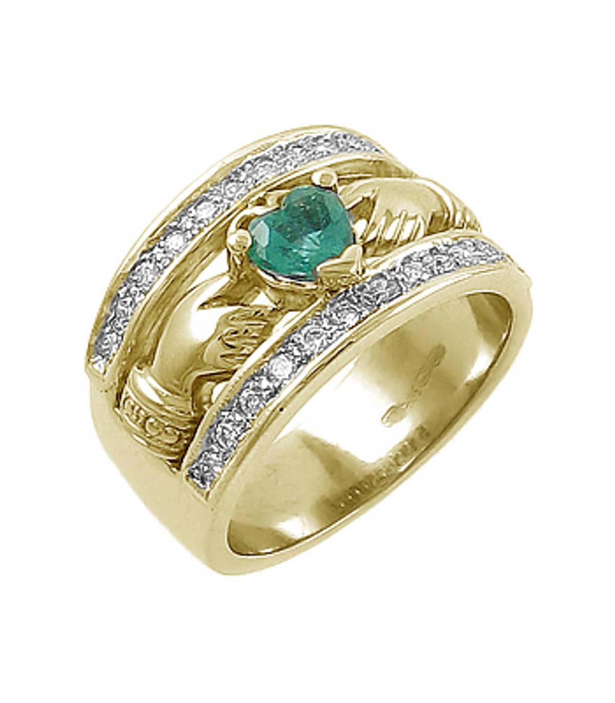Irish made14 ct gold emerald 0.35cts/diamonds 0.26cts claddagh engagement ring