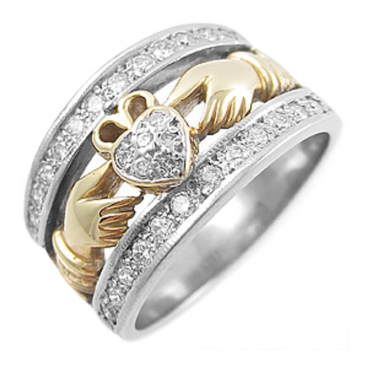 Irish made14 carat white/yellow gold 0.50ctsPastel set diamonds claddagh engagement ring