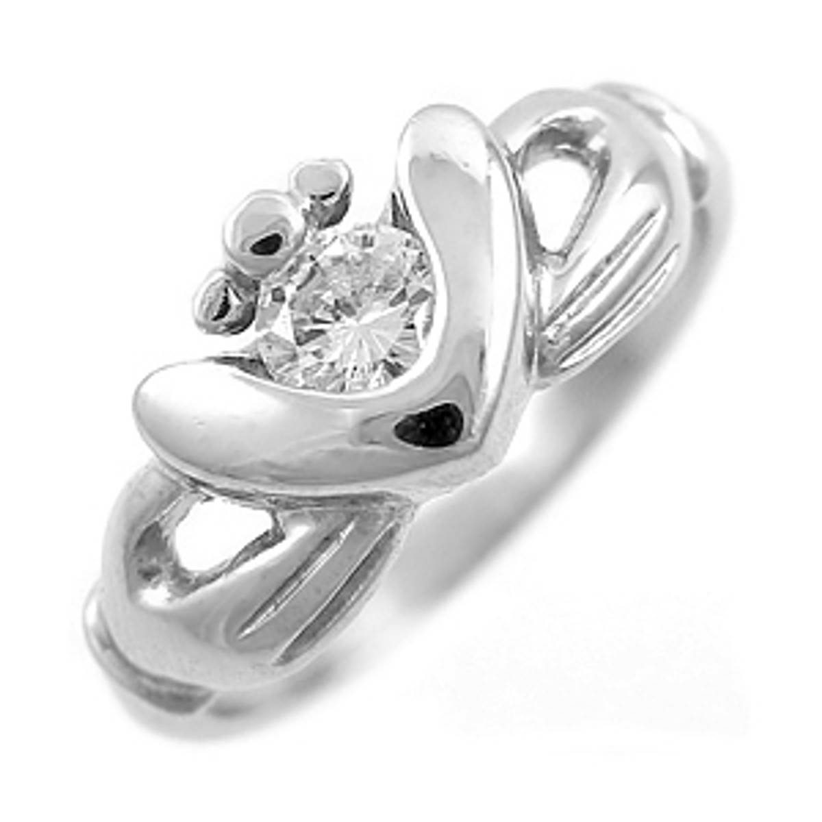 Irish made14 carat white gold 0.10cts diamond claddagh engagement ring