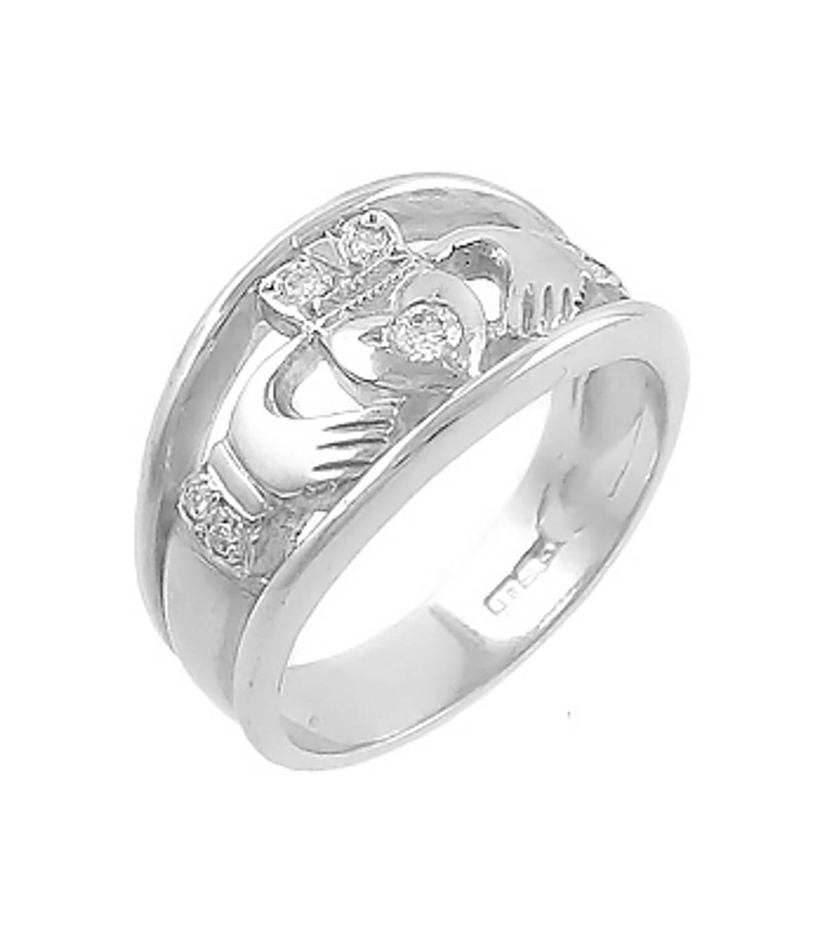 Irish made14 carat white gold 0.11cts diamonds claddagh engagement ring