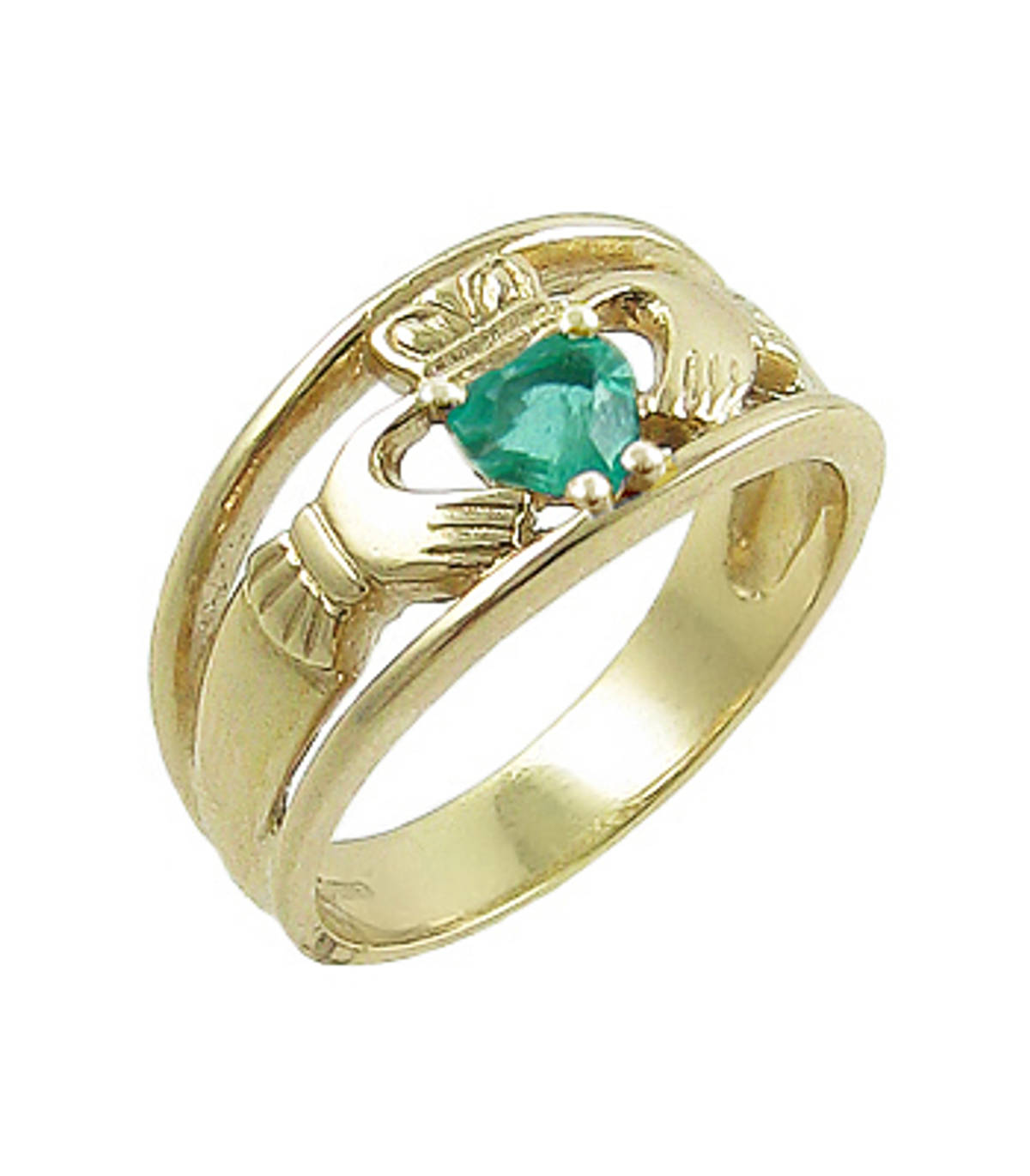Irish made 14 carat yellow gold 0.45cts emerald/0.06cts diamonds claddagh engagement ring