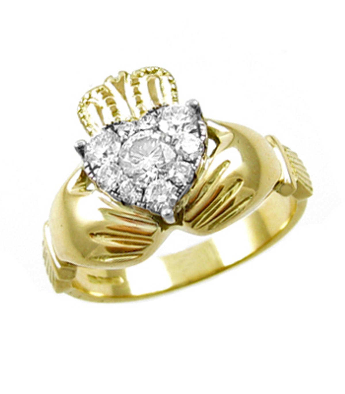 Irish made 14 carat yellow gold 0.24cts/0.30cts diamonds claddagh engagement ring