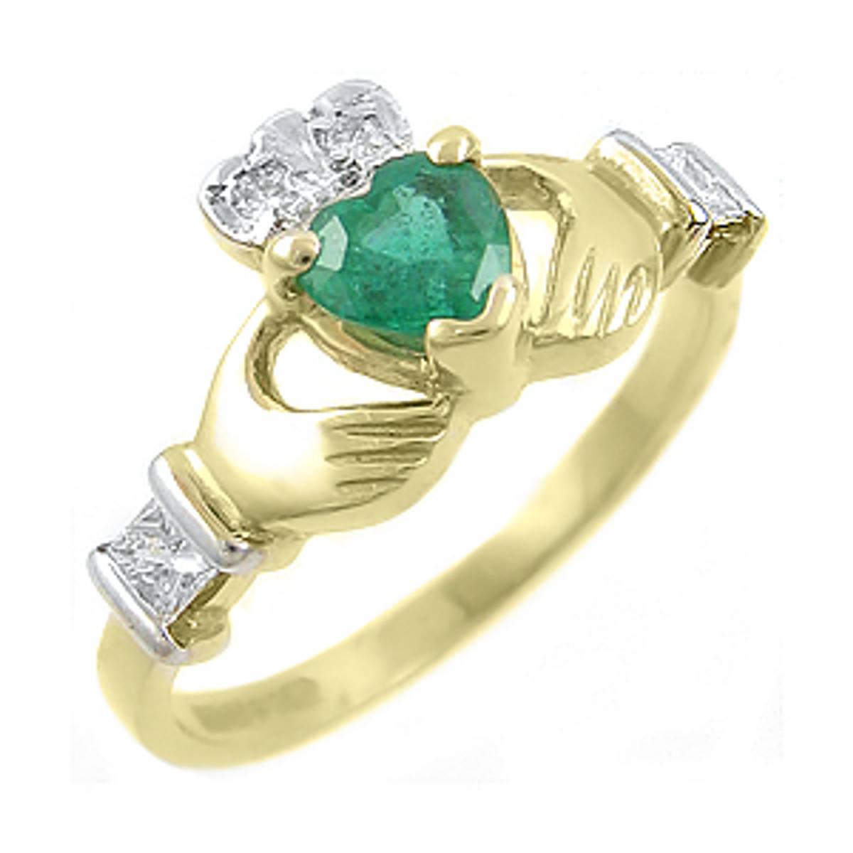 Irish made14 carat yellow gold 0.55cts emerald/0.22cts diamonds claddagh engagement ring