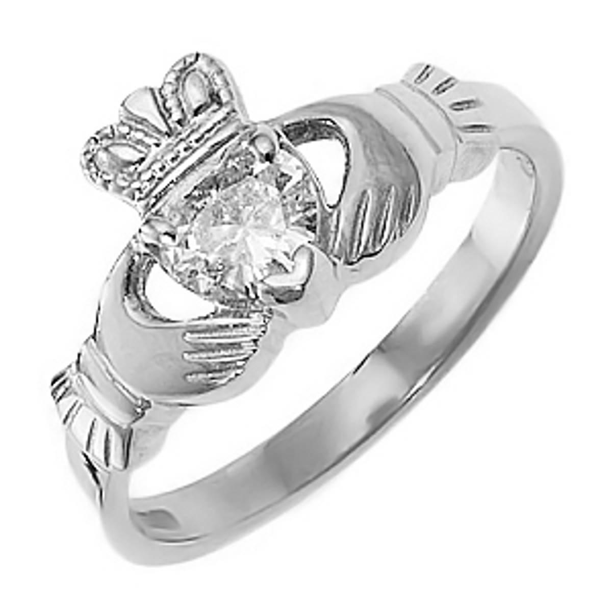 Irish made14ct white gold 0.45ct diamond claddagh engagement ring